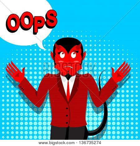 Red Devil Speak Oops. Surprised By Demon. Satan Is Perplexed. Style Of Pop Art. Bubble For Text. Luc