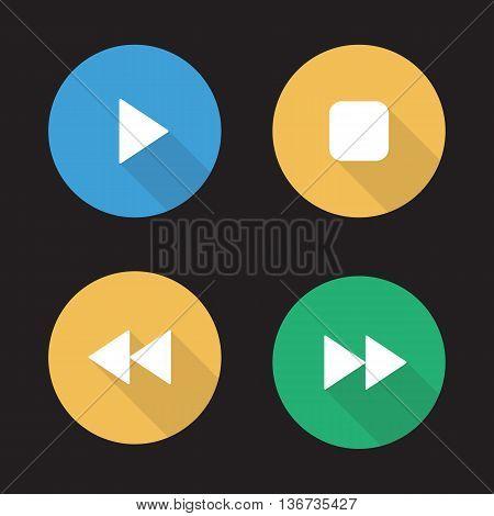 Audio player flat design long shadow icons set. Play stop forward and backward buttons. Vector symbols