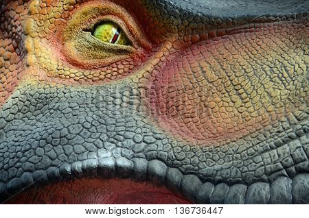 Close up of an eye on a replica dinosaur