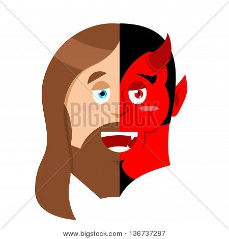 Two Face Jesus And Devil. Half Face Of Son Of God And Satan. Two Entities In One Head