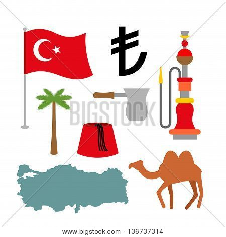 Turkey Symbol Set. Turkish National Icon. State Traditional Sign. Map And Flag Of Country. Turk And
