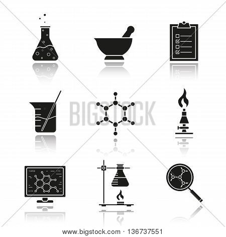 Chemical laboratory equipment drop shadow black icons set. Beaker with rod chemical reaction and test checklist. Molecule structure and lab burner. Chemistry lab tools isolated vector illustrations