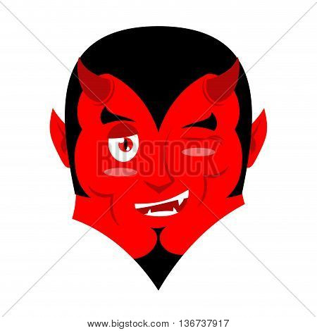 Satan Winks. Demon Makes Warning. Devil Warns. Beelzebub Prince Of Darkness And Underworld. Lucifer
