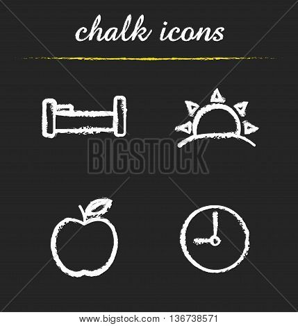 Daily timetable icons set. Bed sunrise apple and clock. Waking up morning time and breakfast symbols. Healthy lifestyle isolated vector chalkboard drawings