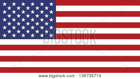 USA flag. American national flag. Star-spangled banner in proportion of 10 by 19 and colors correspond G-spec government specification. Correct USA flag vector illustration in EPS8 format.