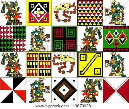 Ethnic pattern of American Indians: the Aztecs, the Mayans, the Incas. Vector illustration.