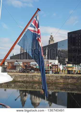 British Blue Ensign Flag In Liverpool