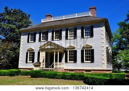 New Bern North Carolina - April 24 2016: Georgian c. 1780 John Wright Stanly House with garden entrance portico *