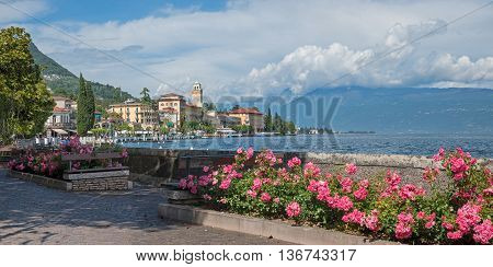 Pictorial Lakeside Gardone, With Rose Flowerbed And Benches, Garda Lake Italy