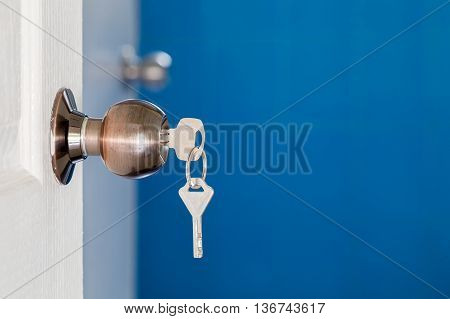 Open Door With Keys, Key In Keyhole