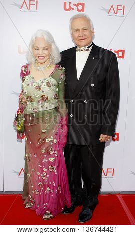 Lois Driggs Cannon and Buzz Aldrin at the 36th AFI Life Achievement Award held at the Kodak Theater in Hollywood, USA on June 12, 2008.