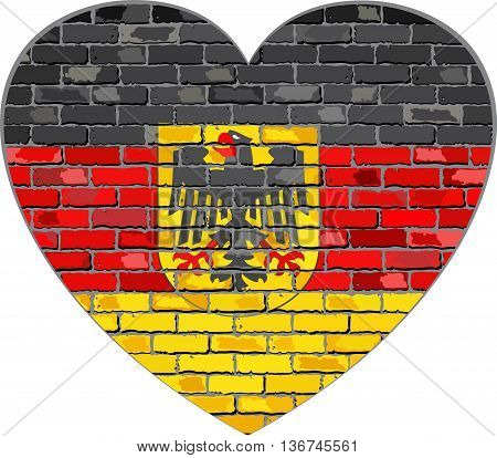 German flag on a brick wall in heart shape - Illustration, Deutschland flag in brick style,  Abstract grunge Germany flag