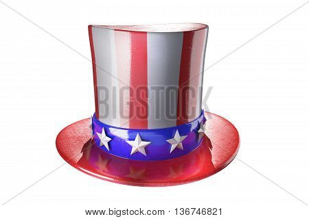Uncle Sam hat on white background. 3d illustration. Hat for independence day. Uncle Sam hat isolated. National Patriotic hat in America. Cylinder Uncle Sam USA