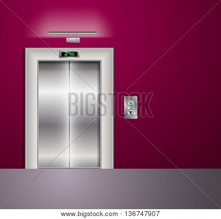 Open and Closed Modern Metal Elevator Doors. Hall Interior in vinous Colors. Wall lamp and light