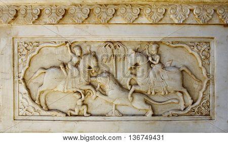 Detail Of Carved Relief At Gatore Ki Chhatriyan In Jaipur, Rajasthan, India.