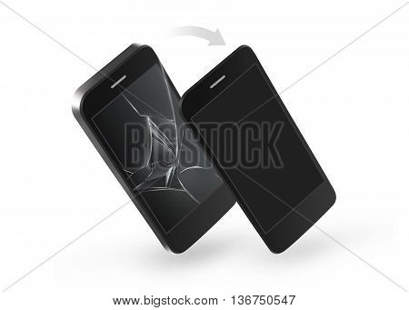 Phone broken screen repair 3d illustration. Change of crashed glass touchscreen on the smartphone. Solve problem. Scratch cellphone display monitor. Gadget damage. Device destroy and replacement. Wrack smash hit.