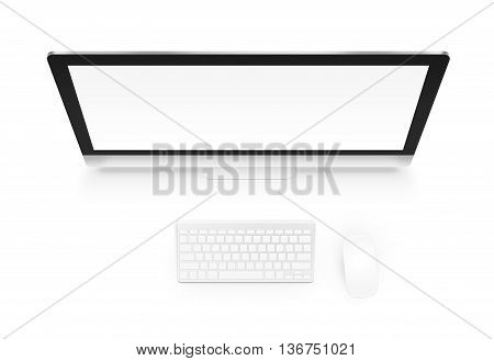 Computer mock up with keyboard and mouse from above isolated 3d illustration. Office workspace with pc mockup top view. Creator workplace template atop. Blank screen for internet web site project presentation.