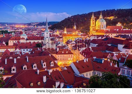 Prague at Night with St. Nicholas Church. Mala Strana. Czechia. Prague Chech Republic.