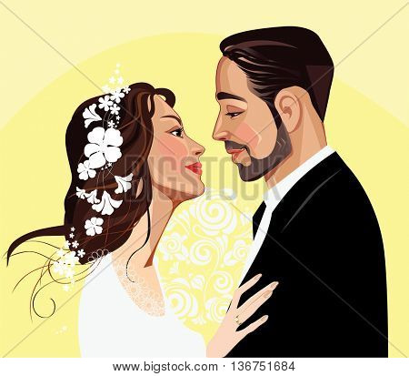portrait of bride and groom to profile