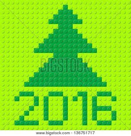 New Year tree and Twenty-Sixteen in plastic construction kit texture