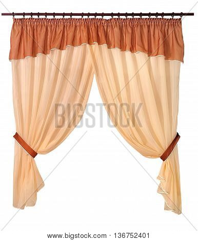 brown beige curtains isolated on white background