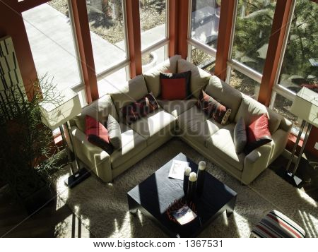 Living room from above with late afternoon light