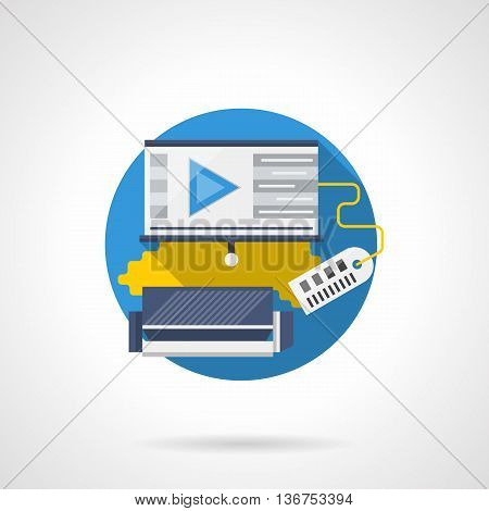 Blue sofa and projector screen with applications elements and price tag. Equipment for home cinema. Round flat color style vector icon. Web design element