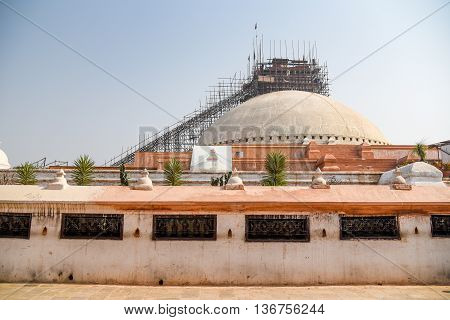 Boudhanath stupa under reconstruction after the major earthquake on 25 April 2015. Boudhanath is one of famous place in Nepal and the largest ancient stupa in the world