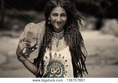 smilling young woman on the beach portrait