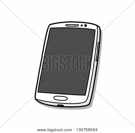 Smartphone or Mobile Phone, a hand drawn vector illustration of a high-end smartphone, it costs around $700-$900, the kind of phone you wanna brag about to your less fortunate friends.