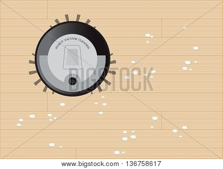 Modern robot vacuum cleaner working on wooden floor technology vector illustration.