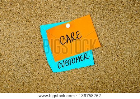 Customer Care Written On Paper Notes