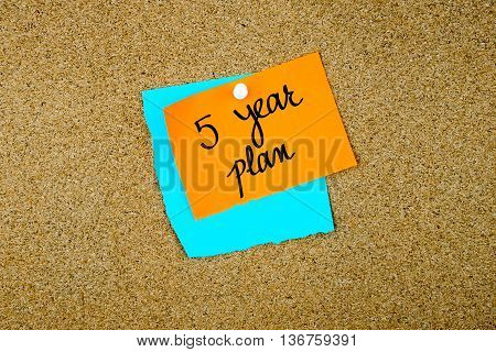 Five Year Plan Written On Paper Notes