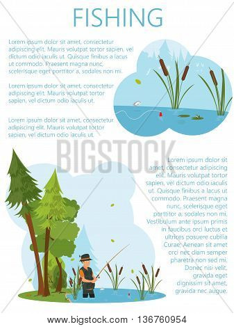 a man in waders fish in the pond. a man fishes in the pond at the bait. vector