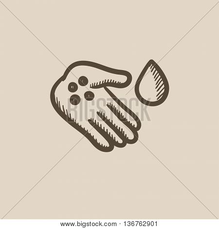 Hand with microbes vector sketch icon isolated on background. Hand drawn Hand with microbes icon. Hand with microbes sketch icon for infographic, website or app.