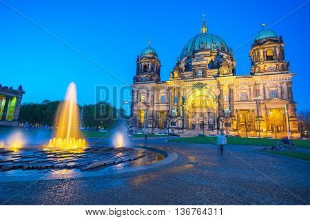 View of Berlin Cathedral (Berliner Dom) at night in Berlin Germany.