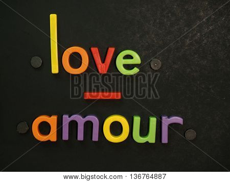 Love, Amour! Inspirational Message In Vibrant Colorful Magnet Letters
