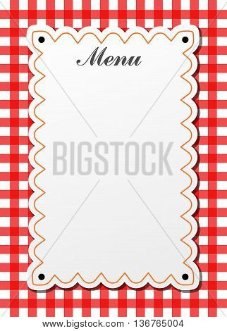 Illustration of restaurant traditional menu with gingham
