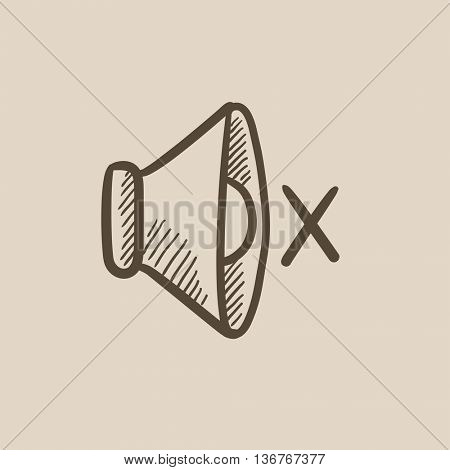 Mute speaker vector sketch icon isolated on background. Hand drawn Mute speaker icon. Mute speaker sketch icon for infographic, website or app.