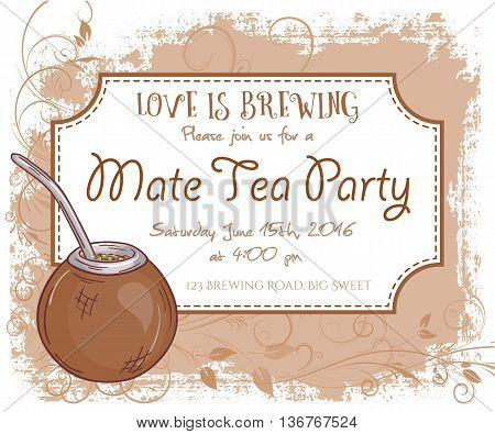 vector hand drawn mate tea party invitation card, vintage frame, glass and leaves.