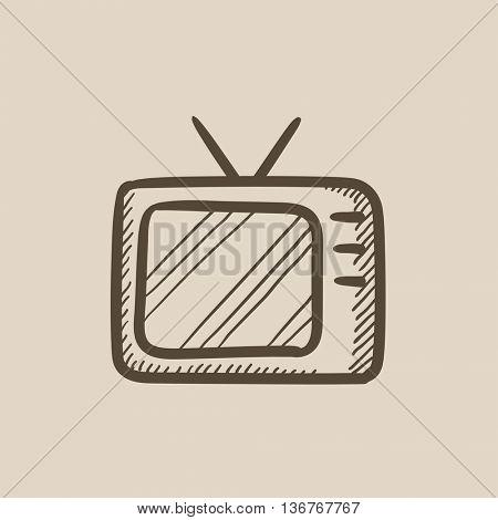 Retro television vector sketch icon isolated on background. Hand drawn Retro television icon. Retro television sketch icon for infographic, website or app.