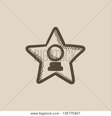 Cinema star vector sketch icon isolated on background. Hand drawn Cinema star icon. Cinema star sketch icon for infographic, website or app.