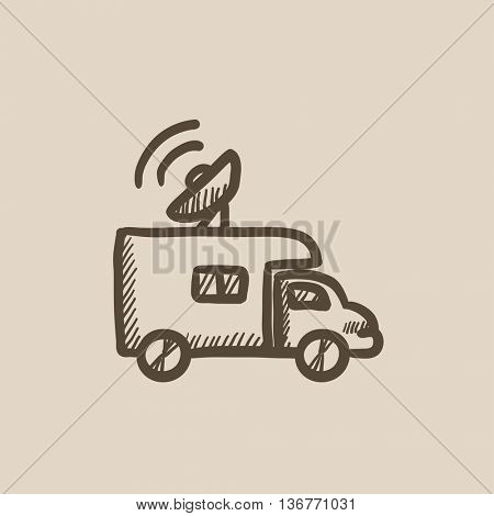 Broadcasting van vector sketch icon isolated on background. Hand drawn Broadcasting van icon. Broadcasting van sketch icon for infographic, website or app.