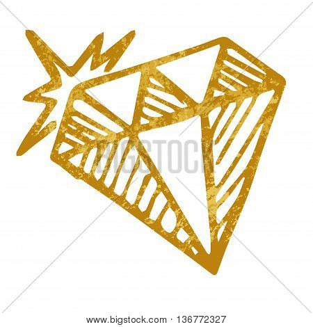 Vector doodle diamond isolated on white background one hand drawn gold diamond design for greeting card poster banner printing mailing