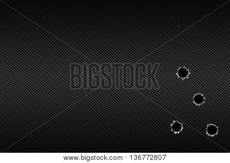 shotgun bullet hole on carbon fiber. metal background.