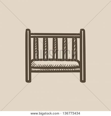 Baby cot vector sketch icon isolated on background. Hand drawn Baby cot icon. Baby cot sketch icon for infographic, website or app.