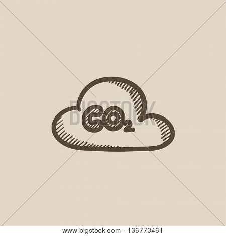 CO2 sign in cloud vector sketch icon isolated on background. Hand drawn CO2 sign in cloud icon. CO2 sign in cloud sketch icon for infographic, website or app.