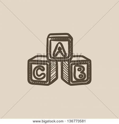 Alphabet cubes vector sketch icon isolated on background. Hand drawn Alphabet cubes icon. Alphabet cubes sketch icon for infographic, website or app.