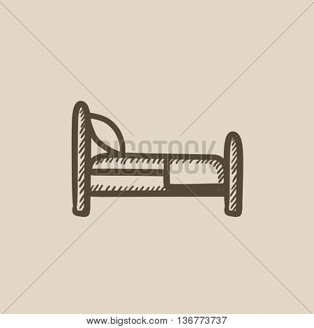 Bed vector sketch icon isolated on background. Hand drawn Bed icon. Bed sketch icon for infographic, website or app.
