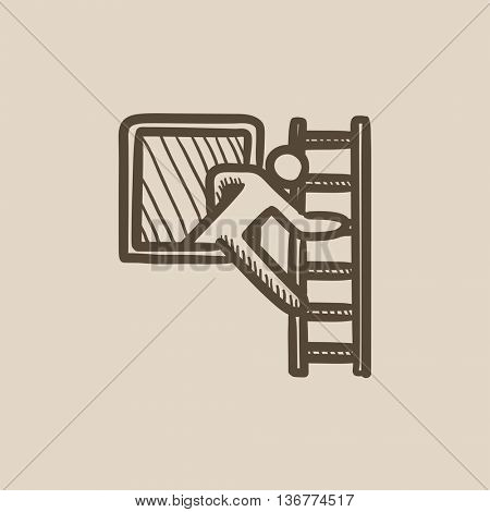 Man leaving building through window vector sketch icon isolated on background. Hand drawn Man leaving building through window icon. Man leaving building sketch icon for infographic, website or app.